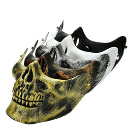 skeleton mask half face UK - Skull Masks Fun Paintball PVC Airsoft Scary Skeleton Mask Protective CS Games Halloween Carnival Outdoor Party