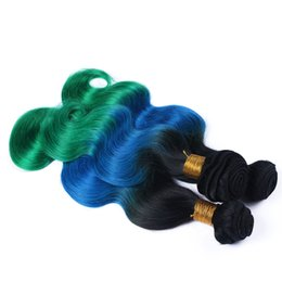 Blue Ombre Hair Bundles Canada - New Sale Cheap Teal Ombre Body Wave Hair Extensions 3Pcs Lot Three Tone 1B Blue Green Ombre Brazilian Wavy Human Hair Weave Bundles