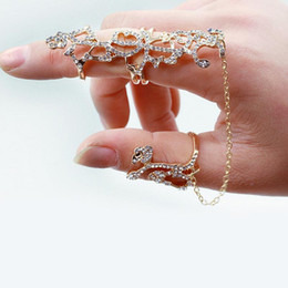 double finger chain rings Australia - New fashion accessories jewelry full rhinestone rose flower double finger chain link ring for women girl nice gift