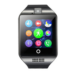 touch screen cameras UK - Free shipping Q18 Passometer Smart watch with Touch Screen camera TF card Bluetooth smartwatch for Android IOS Phone
