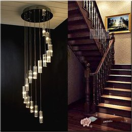 Double Staircase Crystal Long Hanging Lamps Modern Simple Creative  Personality LED Villa Rotating S Type Stair Lamp