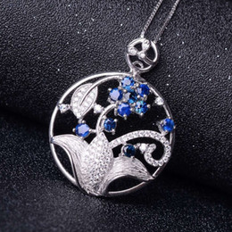 Pendants Designs For Girls NZ - Luxurious sapphire pendant 100% natural blue sapphire necklace pendant beautiful flower design sterling silver pendant for girl