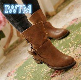 $enCountryForm.capitalKeyWord NZ - Wholesale-2016 New Fashion Women Boots Female Spring And Autumn Women's Martin Boots Flat Vintage Zip Chains Square Heel Motorcycle Boots