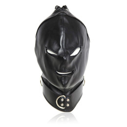 Women Face Mask Sex UK - head hood bdsm bondage gear restraints slave training black pu face head mask with zipper adult sex toys for men and women