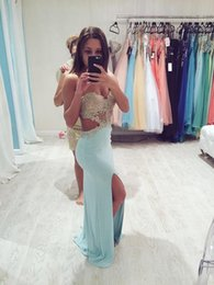 Chiffon prom dress sweetheart neCkline online shopping - Hot Pinned Baby Blue Prom Dress Backless with Sweetheart Neckline Sparkly Golden Appliques Chiffon Side Slit Mermaid Evening Party Dress