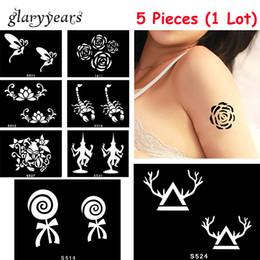 Drawing Women Tattoo Canada - Wholesale-5 Pieces lot Small Henna Body Stencil Beauty 72 Designs Life Tree Women DIY Hands Leg Art Airbrush Paint Drawing Tattoo Template