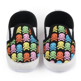 China Wholesale- TongYouYuan Print Skull Pattern Newborn Fashion Canvas Infant Toddler Boys Girls Kids Very Light Casual Soft Soled Loafers Shoe cheap canvas shoes kid sole suppliers