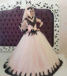 High Collar Ball Wedding Dress Canada - Gorgeous Ball Gown Tulle Wedding Dresses 2017 High Neck Long Sleeves Black Appliques Sequins Covered Button Back Muslim Bridal Gowns Custom