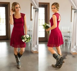 dress style for maid honors 2019 - 2018 New Country Style Bridesmaid Dresses Short For Weddings Full Lace Cap Sleeves Burgundy Open Back Plus Size Formal M