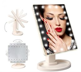 Discount lit cosmetics - 36pcs 360 Degree Rotation Touch Screen Make Up Mirror Cosmetic Folding Portable Compact Pocket With 16 22 LED Lights Mak