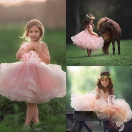 Mariage Rose Princesse Pas Cher-2017 Vintage Flower Girl Robes pour les mariages Blush Pink Custom Made Princess Tutu Appliqued Beads Enfants First Communion Gowns