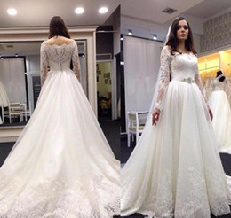 2017 new wedding dresses for sale 2016 lace sheer crew neck custom made vintage style cheap modest women bridal ball gowns with sleeves