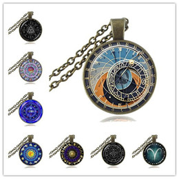 astronomy gifts UK - Zodiac Clock Necklace Astrology Pendant Constellation Jewelry Astronomy Horoscope Necklace Long Chain Sweater Necklace Gift for Her or Him