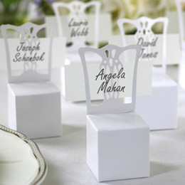 Barato Caixas De Presente De Cadeira-100pcs / lot Wedding White Chair Candy Box Wedding Gift Box Wedding Favors Atacado