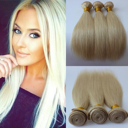 Discount Light Blonde Hair Dye   613 Blonde Brazillian Straight Hair 3  Bundles Light Blond Brazilian