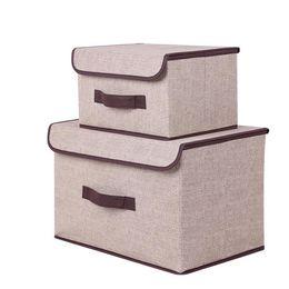 $enCountryForm.capitalKeyWord Canada - 2pcs lot New Arrival Clothing Organizer Cotton Convenient Foldable Box Set Lined with Cardboard Clothing Toys Storage Box