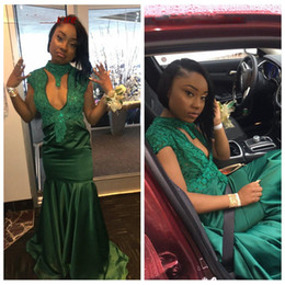 $enCountryForm.capitalKeyWord Australia - Sexy Green Mermaid African Black Girls Prom Dresses High Neck Lace Appliques Cap Sleeves Evening Dress Long Party Gown