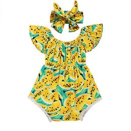 Barato Grossista-Summer Style 2017 Newborn Rompers Baby Girls Melancia Tassel Romper Headband 2pcs Sets Kids Cotton Outfit Sunsuit Clothes Set Wholesale