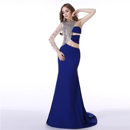 long sleeve cross back mermaid dress 2019 - One Shoulder Long Sleeve mermaid prom dresses Crystal Beaded White sexy prom dresses Backless Royal Blue celebrity eveni