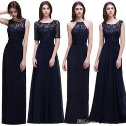 Discount cheap elegant designer dresses - Elegant Dark Navy Lace Chiffon Bridesmaid Dresses 2017 New Designer Cheap Bridesmaids Gowns Summer Garden Weddings Floor