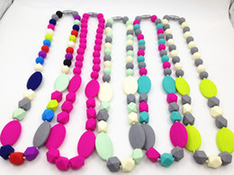Silicone Nursing Beads Wholesale Canada - Bitey Beads Donuts-on-a-String Pendant Silicone Teething Nursing Necklace