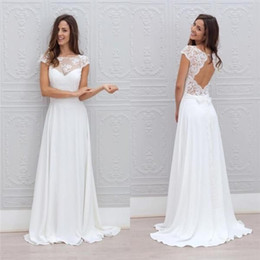 Discount vintage chic wedding dresses - 2019 Jewel Neck Simple White Beach Wedding Dresses A Line Backless Floor Length Chic Cap Short Sleeves Bridal Gowns chea