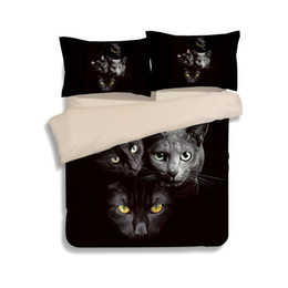 Cat King Size Duvet Covers Canada - Hot Sale Black Cats Printing Bedding Sets Twin Full Queen King Size Fabric Cotton Bedclothes Duvet Covers Set Pillow Shams Comforter Animal