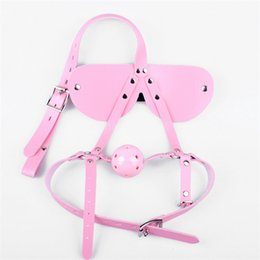 $enCountryForm.capitalKeyWord Canada - Turn Y Shape Head Harness Blindfold Pink Gag Pink Leather Adjustable Lockable Belt BDSM Pig Dog Slave Training Kit free shipping