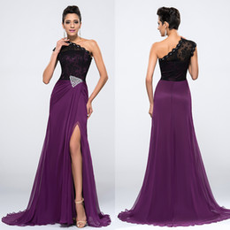 Barato Imagens De New Sexy-One-Shoulder Purple Lace Chiffon Evening Dresses Real Pictures Trem de varredura de cristal New Formal Runway Fashion Sexy Elegant Long Prom Gowns