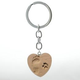 $enCountryForm.capitalKeyWord UK - Fashion Dog lover jewelry vintage Footprint Dog Paw Print keychain Baby Feet heart pendant baby shower key chain ring HP507