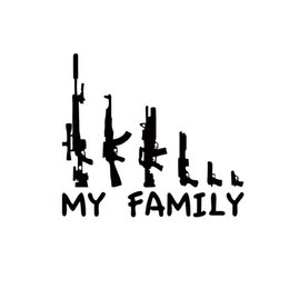 Car deCal family online shopping - Cool Graphics My Gun Family Bumper Sticker Window Funny Decal Vinyl Car Accessories Decorative JDM