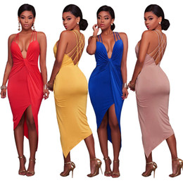 Barato V Neck Bodycon Plunge Dress-Womens Sexy Irregular Tight sem mangas Pinafore Slip Jumper Bodycon V-Neck Plunge Vestido curto Cocktail Party Evening Clubwear Vestidos