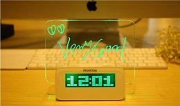 Wholesale Romantic Highstar Christmas Message board Alarm Clock Luminous Fluorescent LED Electronic Clock Calendar with Highlighter and retail box