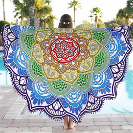 Colorful Lotus Print Round Beach Towel Large Yoga Mat 147cm Indian Mandala  Throw Bath Towels For Adult Tablecloth Picnic Blanket Colorful Tablecloths  On ...