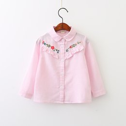 Chemisier Femme Rose Pas Cher-Everweekend Girls Floral Brodés à rayures Blouses Cute Baby Agaric Laces Chemises Sweet Kids Pink Blue and Green Color Fall Top