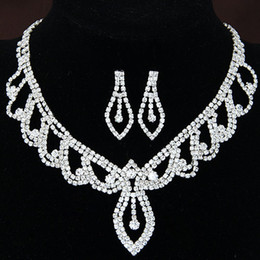Valentines Gifts Sets Canada - Valentine Gift Summer Sale Fine Bridal Jewelry sets Silver ACrystal ccessories Wedding Choker Necklaces Water Drop Dangle Earrings For Women
