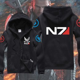 Barato Jaqueta Com Capuz Zíper Militar-Homens N7 Mass Effect 3 Hoodies Systems Alliance Military Emblem Game Black Hooded Cardigan Zipper Coat Daily Casual Jackets