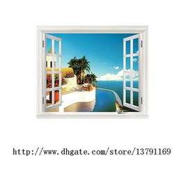 House Window Stickers Canada - False Window Beach Blue Ocean Wall Stickers Wallpaper Removable Home Decals for Bedroom Sitting Room 90*70cm