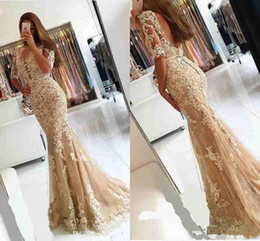 Two piece fishTail prom dress online shopping - 2019 Champagne Lace Backless Mermaid Prom Dresses with Sleeves Floral Applique Crew Long Fishtail Women Occasion Evening Gowns Wear