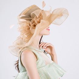 $enCountryForm.capitalKeyWord Canada - Hot New Elegant beige Fine gauze large brim hat party church wedding hats Fashion hat Sun Hats