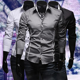 Barato Nice Man Camisa Magro-Fashion-Nice Vogue! Men Fashion Luxury Casual Slim Fit manga comprida Flanger Office Tops camisa de vestido