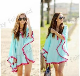 Bikini En Bonnet Blanc Pas Cher-NOUVEAU Fashion Beach Covers Chiffon Dress 2016 Summer Beach Dress Tassel Chiffon Beach Cover ups Bikini Swimsuit Coverup Blue and White 00239