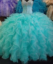 Vestidos De Quinceañera Azul Encaje Baratos-Lentejuelas Crystal Blue Quinceanera Dresses 2017 Nueva imagen real Ball Gown Sweetheart Ruffles Lace Up Sweet 16 Years Princess Prom Dress