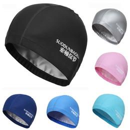 ef28f283f29 New Elastic Waterproof PU Fabric Swimming Caps Protect Ears Long Hair  Sports Swim Pool Hat Swimming Cap Free Size for Men Women Adults