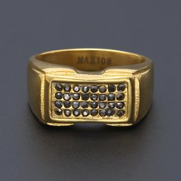 Pop Plate Wholesale Pas Cher-Pop Party Hiphop Rings strass hip hop bijoux de danse pour hommes 2017 luxe en or plaqué gros