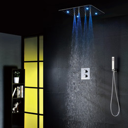luxury bathroom shower faucet set 20 inch rain showers with light easy installation embedded box thermostatic shower mixer 002t 20tsl f - Luxury Rain Showers