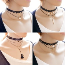 $enCountryForm.capitalKeyWord Canada - Gothic Multi layer Minimalist choker necklaces Ladies Tattoo Long Tassel Lace chokers Pearls Cross Charms pendant necklace For women Jewelry