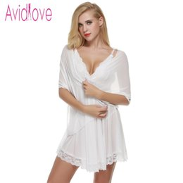 Discount mini dress g string - Wholesale- Avidlove Sexy Women Erotic Lingerie Babydolls Sexy Lace Sleepwear Mini Dress 3 Pieces  set Dress + G-String +