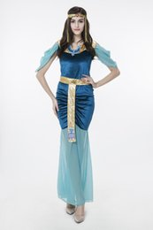 Barato Vestido De Clube De Deusa-2017 New Adult Egyptian Goddess Blue Dress Sexy Cosplay Halloween Costumes Club Stage Performance Vestuário Drop Shipping Hot Selling