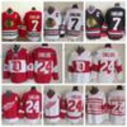 03d35940d0e ... Mens Throwback Detroit Red Wings 24 Chris Chelios Hockey Jerseys Home  Red Vintage Classic Chicago Blackhawks .